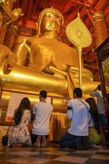 Buddha statue in Wat Phanan Choeng temple in Ayutthaya, Thailand