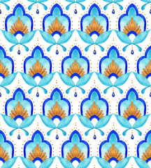 Moroccan floral seamless tile - aqua, turquoise and gold