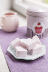 Homemade pink marshmallows