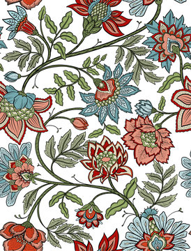 Seamless mandala and paisley floral pattern - red and blue