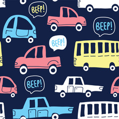 Seamless pattern with cute cars on dark background