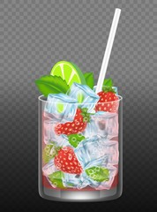 Strawberry mojito vector realistic illustration