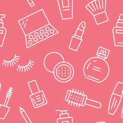 Makeup beauty care red seamless pattern with flat line icons. Cosmetics illustrations of lipstick, mascara, perfume, eyeshadows, nail polish. Cute pink repeated wallpaper signs make up store.