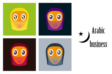 assembly of flat icons on theme Arabic business arabic woman smiling