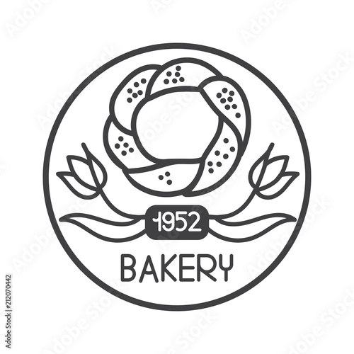 Modern vector illustration of famous turkish bagel with red tulip ...
