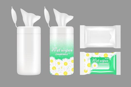 Vector realistic wet wipes packaging mockup set
