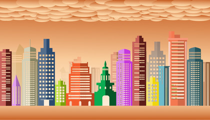 city scape Vector illustration. orange sky cloud background