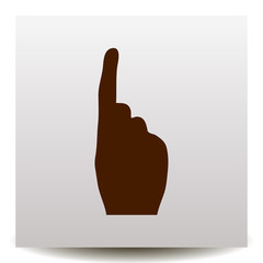 hand gesture number one vector icon on a realistic paper background with shadow