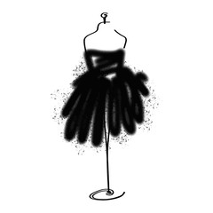 Tailor dummy fashion icon on white background. Atelier, designer, constructor, dressmaker object. Black Couture symbol, silhouette white background. Vector illustration.