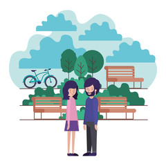 young couple in the park with bicycle vector illustration design