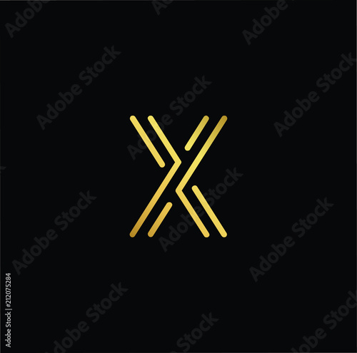Initial Letter K Kk Minimalist Art Logo Gold Color On Black
