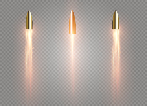 A flying bullet with a fiery trace. Isolated on a transparent background. Vector illustration