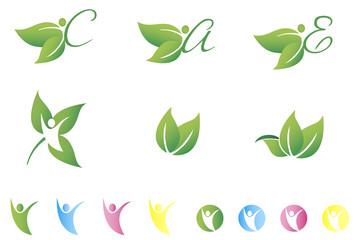 Organic logo concept designs CMYK