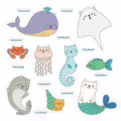 Hand drawn vector illustration of a kawaii funny sea animals with cat ears, swimming in the sea. Isolated objects on white background. Line drawing. Design concept for children print.
