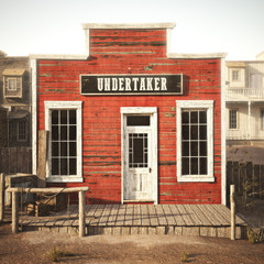 Western town rustic undertaker. 3d rendering . Part of a Western town series.