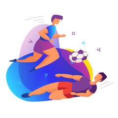 Players during the game. Colorful and modern vector illustration on a white background.