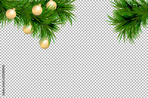 merry christmas and happy new year background with fir branches and christmas balls isolated on transparent