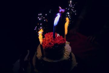 Firework on top of wedding cake