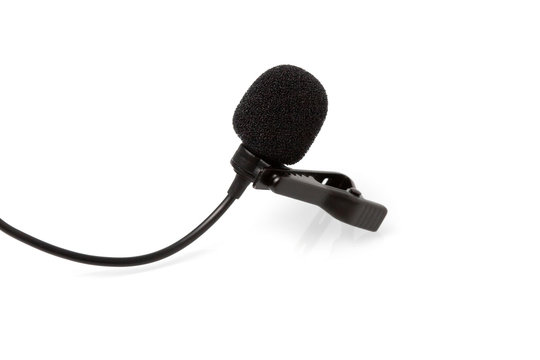 Condenser lavalier tie clip microphone, tool isolated on white background