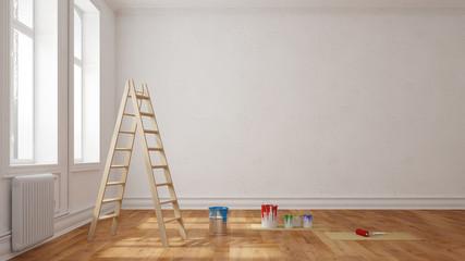 Leiter mit Farbe vor Wand im Raum