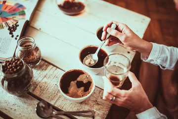 Coffee cupping in beautiful home