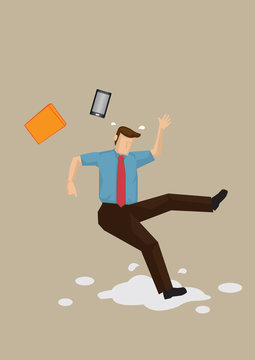 Slippery Floor Accident Vector Illustration