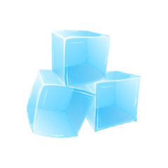 Ice cubes isolated on white background. Vector illustration.