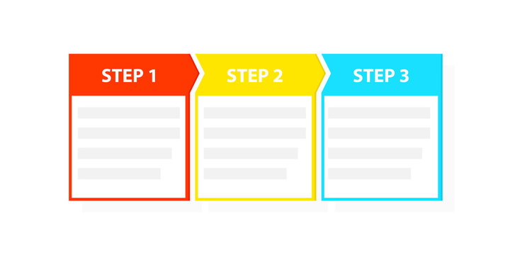 Three 3 easy steps process template
