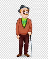 elderly full length man with glasses and walking cane