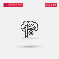Outline Tree Icon isolated on grey background. Modern simple flat symbol for web site design, logo, app, UI. Editable stroke. Vector illustration. Eps10