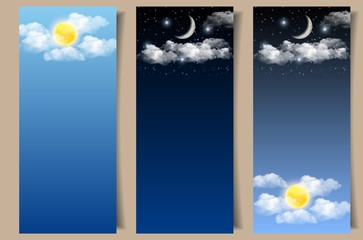 Vector set of day and night sky banners