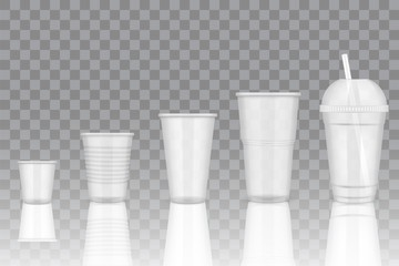 Vector transparent disposable plastic cup mockups