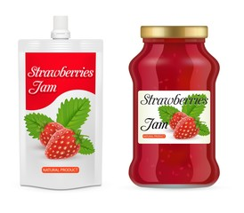 Strawberry jam packaging vector realistic mockups