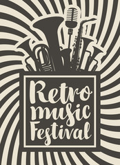 Vector poster or banner for the retro music festival with wind instruments and microphone in retro style and with calligraphy lettering