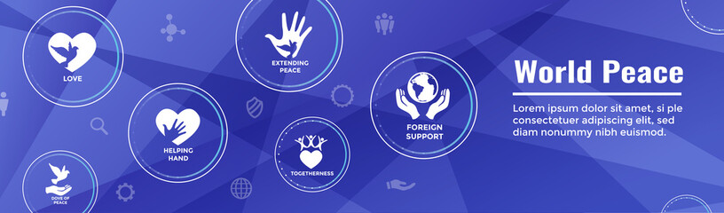 World Peace Web Header Banner with Dove Globe Hand and heart icon set
