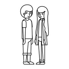 young couple avatars characters vector illustration design