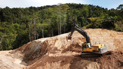 Deforestation. Destruction of Borneo rain forest for palm oil industry.