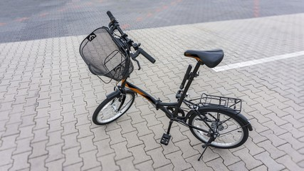 New bicycle . Active lifestyle concept .  the beautiful bicycle in the city .