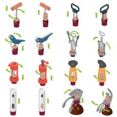 Corkscrew wine cork opener icons set. Isometric illustration of 16 corkscrew wine cork opener vector icons for web