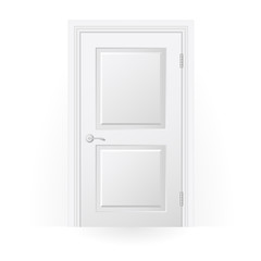 Closed door icon - blank white door with panels