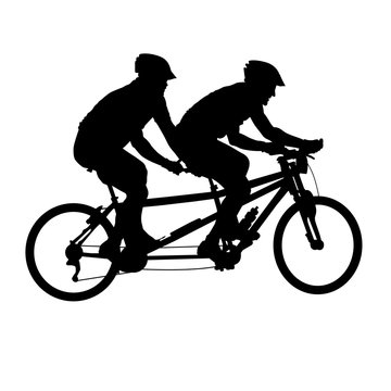 Tandem bicycle silhouette - bicyclists on double bicycle