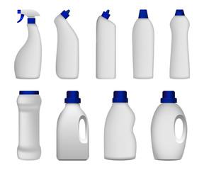 Detergent bottle cleaning powder washing mockup set. Realistic illustration of 9 detergent bottle cleaning powder washing mockups for web