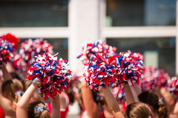 Red, White and Blue Pom Poms, American Cheerleader