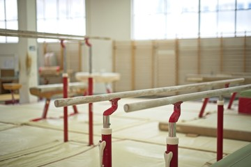 Gymnastics Hall. Gymnastic equipment.Parallel bars
