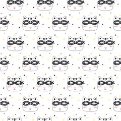 Seamless pattern with Super Cat. Vector illustration