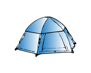 Camp tent icon. Outline illustration of camp tent vector icon for web design isolated on white background