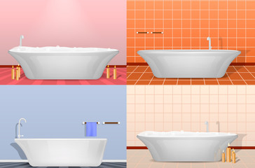 Bathtub shower interior mockup set. Realistic illustration of 4 bathtub shower interior mockups for web