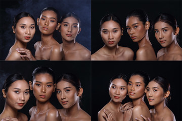 Collage Group of Beautiful tanned Clean Skin Woman wrapped black hair