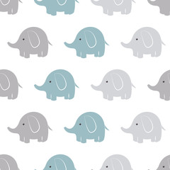 Elephant vector pattern. Baby animal seamless background.