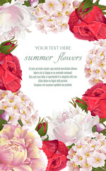 Template for greeting cards, wedding decorations, sales. Vector banner with Luxurious peony, roses flowers. Spring or summer design.
